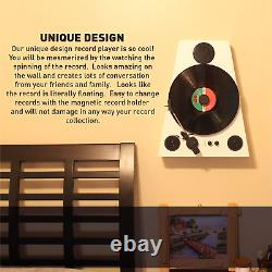 Easygoproducts Vertical Bluetooth Turntable 3 Speed Record Player Auto Stop