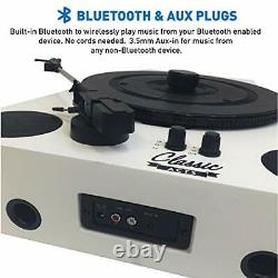 Easygoproducts Vertical Bluetooth Turntable 3 Speed Record Player Auto White