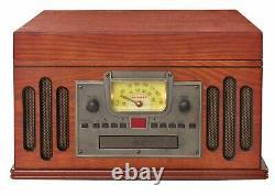 Entertainment Center AM/FM Radio CD Record Player Turntable Vintage Retro Style