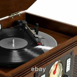 Espresso Entertainment Center AM/FM Radio CD Record Player Turntable Bluetooth
