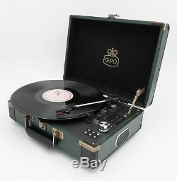 GPO Ambassador Portable Battery Bluetooth Vinyl Record Player Turntable Green