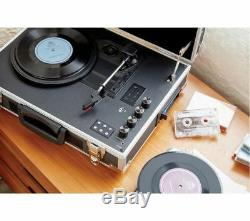 GPO Flight Record Turntable with Cassette Player Bluetooth Battery Wireless