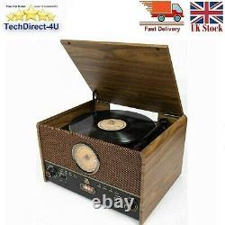 GPO Maestro Belt Drive Bluetooth Music Centre Record Player Turntable Radio, USB