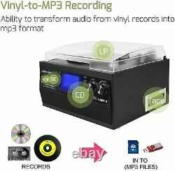 Home Stereo System Bluetooth Record Player Turntable CD Cassette Radio Music MP3