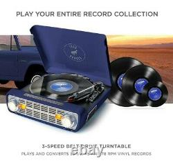 ION Audio Bronco LP Turntable Record Player with Speakers NAVY Blue