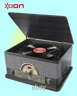 ION Superior LP Record Player 7 in 1 Music Centre CD FM Bluetooth Cassette USB