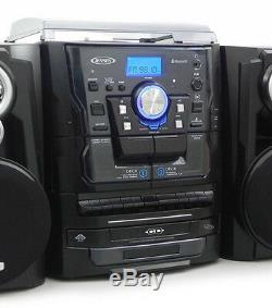 Jensen Shelf Stereo System with Record Player, 3 CD Changer & Cassette Recorder