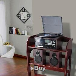 LCD Vinyl Record Player Play CD Cassette MP3 Music with 2 Stereo Speaker