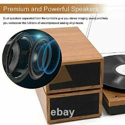 LP&No. 1 Retro Bluetooth Record Player with Stereo External Speakers 3-Speed B