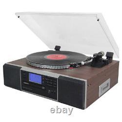 Lenoxx Turntable Record Vinyl CD Player/Cassette/AM/FM Radio/Bluetooth Speaker B