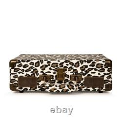 Leopard Print Record Player with 3-speed Turntable Bluetooth, Headphone Jack
