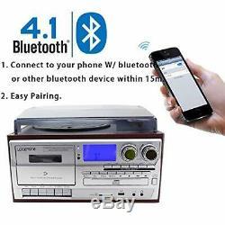 LoopTone Vinyl Record Player 9 in 1 3 Speed Bluetooth Vintage Turntable CD Casse