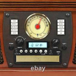 Mahogany Entertainment Center AM/FM Radio CD Record Player Turntable Bluetooth