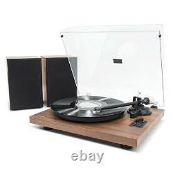 Mbeat MB-PT-28 Bluetooth Hi-Fi Turntable Vinyl Record Player with Speakers Brown