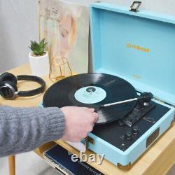 Mbeat Woostock 2 Retro Bluetooth Music Vinyl Turntable Record Player Sky Blue