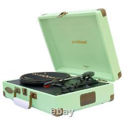 Mbeat Woostock 2 Retro Bluetooth Music Vinyl Turntable Record Player Tiffany GRN
