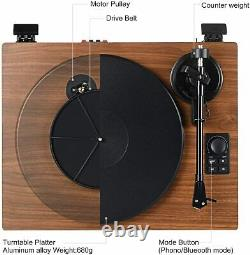 Mersoco Bluetooth Record Player Wireless Turntable HiFi System Wooden Bluetooth