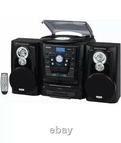 NEW COSMETIC DAMAGE Jensen Stereo System Record Player 3 CD Changer Cassette