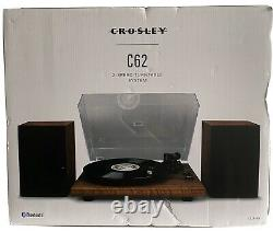 NEW Crosley C62A-WA 2 Speed Bluetooth Turntable Record Player/Speakers System