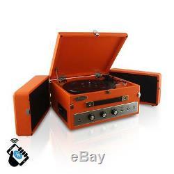 NEW Pyle PLTT82BT Retro Bluetooth Turntable Record Player with Vinyl/MP3 Recording