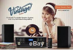 NOB Vintage Classic Bluetooth Turntable With 2 Speakers System Vinyl/MP3 Recording
