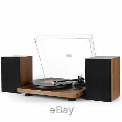 New 1byone Wireless Turntable Hi-Fi System 36 Watt Speakers Vinyl Record Player