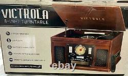 New, Victrola Wood 8 in 1 Nostalgic Bluetooth Record Player With USB Encoding