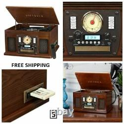 New, Victrola Wood 8-in-1 Nostalgic Bluetooth Record Player with USB Encoding