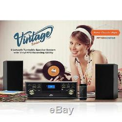 New Vintage Classic Bluetooth Turntable With 2 Speakers System Vinyl/MP3 Recording