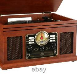 Nostalgic 6-in-1 Record Player 3-speed Turntable CD Bluetooth Cassette FM Radio