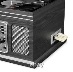 Nostalgic Bluetooth Record Player 6-In-1 3-Speed Turntable CD Cassette FM Radio