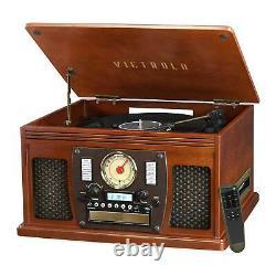 Nostalgic Wood 8-in-1 CD Cassette 3-speed Record Player Bluetooth FM Radio USB
