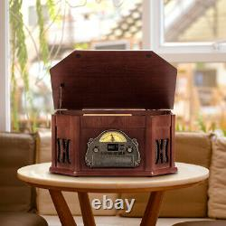 Nostalgic Wood Turntable 8 in 1 Bluetooth Tape Vinyl Record Player With 3 Speed