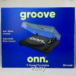 Onn Groove Record Player Turntable with 3 Speeds Modern Black