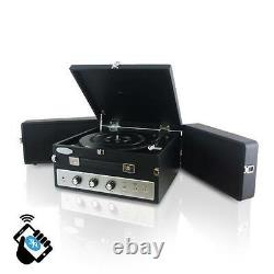 Pyle PLTT82BTBK Bluetooth Turntable Black Record Player + Vinyl to MP3 Recording