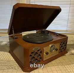 Pyle Vintage Retro Turntable Record Player With Bluetooth, CD, and Casette