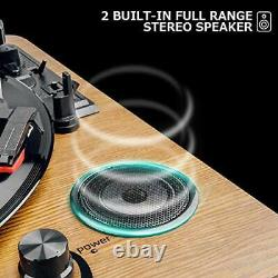 Record Player, 3-Speed Turntable Bluetooth Vinyl Record Player with Speaker