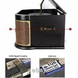 Record Player, DLITIME with AM&FM/USB/RCA/AUX/CD/Bluetooth Vintage Stereo