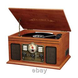 Record Player Nostalgic Bluetooth6in1 with CD Cassette 3 Speed Turntable Wooden