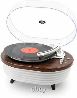 Record Player, Vintage 2-Speed Bluetooth Turntable with Built-in Stereo Speaker