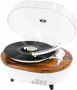 Record Player, Vintage 2-Speed Bluetooth Turntable with Built-in Stereo Speaker, 6