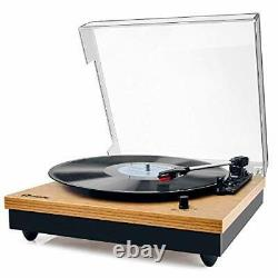 Record Player, Vintage Turntable 3-Speed Bluetooth Record Player with