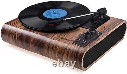 Record Player, Vintage Turntable Bluetooth Vinyl Player LP Record Player with 3