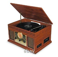 Record Player Vinyl Turntable with Speakers USB MP3 Bluetooth, FM, CD & Cassette
