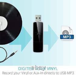 Record Player Vinyl Turntable with Speakers USB MP3 Playback/ Bluetooth/ FM Ra