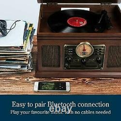 Record Player Vinyl Turntable with Speakers USB MP3 Playback/ Bluetooth/ FM UK