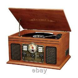 Record Player W Speakers 6-in-1 Nostalgic Bluetooth 3-Speed CD Cassette FM Radio