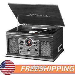 Record Player W Speakers 6in1 Nostalgic 3 Speed Bluetooth CD Cassette FM Radio