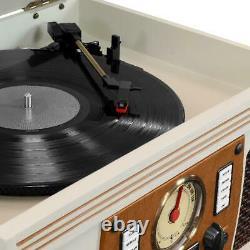 Record Player W Speakers Nostalgic 3 Speed Bluetooth CD Cassette FM Radio 8 in 1