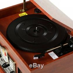 Record Player With Speakers 6 in 1 Bluetooth Radio Classic CD Cassette